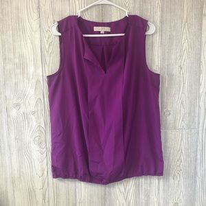 Loft purple sleeveless top with elastic ruched hem